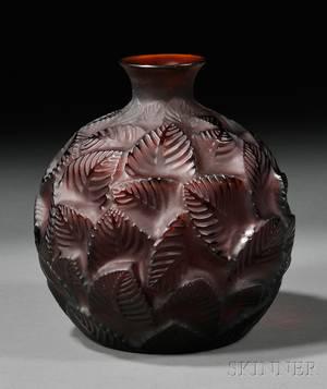 Rene Lalique Amber Ormeaux Art Glass Vase