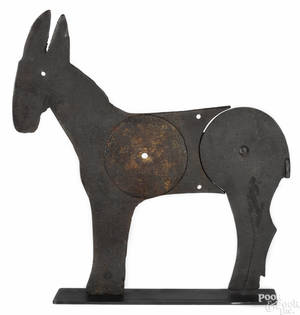 Attributed to A J Smith Manufacturing Co cast iron kicking donkey shooting gallery target ca 1920