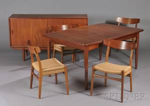 Danish MidCentury Modern Designer Dining Table Ten Chairs and Sideboard