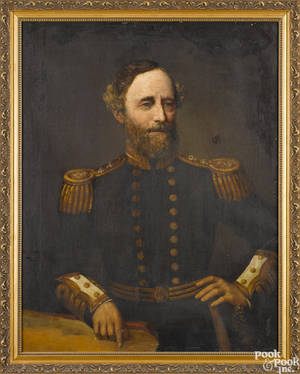 Oil on canvas portrait of a British admiral 19th c
