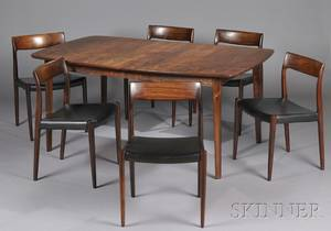 Danish MidCentury Modern Dining Table and Six Chairs
