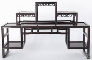 Chinese carved hardwood tiered tabletop display stands