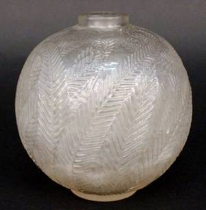 Rene Lalique Palmes Art Glass Vase