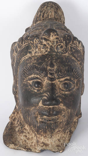 Southeast Asian cast iron painted bust