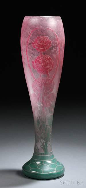 Le Verre Francais Cameo Glass Sauvages Vase