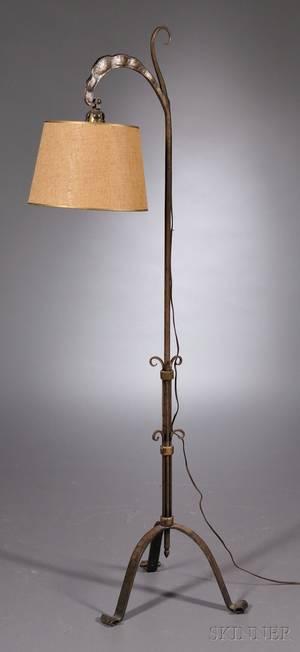 Art Deco Wrought Iron Floor Lamp