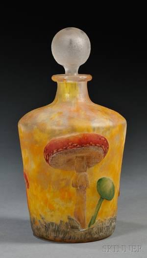 Daum Enameled Cameo Glass Bottle