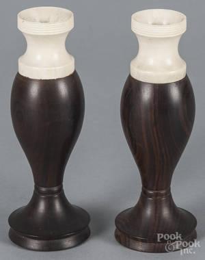 Pair of lignum vitae and bone vases