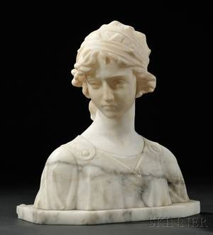 Continental School 19th20th Century Portrait Bust of a Woman with Downcast Gaze