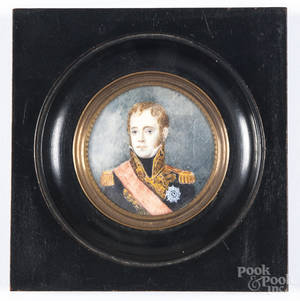 Miniature watercolor portrait on ivory of French Marshal Michel Ney