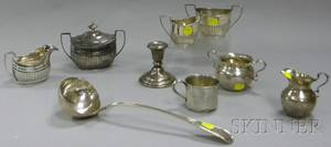 Nine Pieces of Small Sterling Silver Tableware