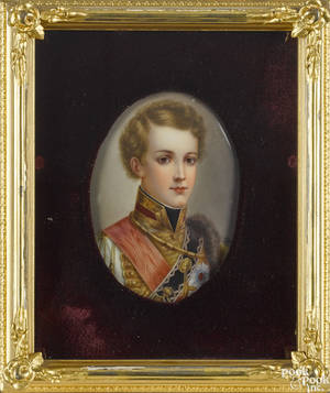 German painted porcelain plaque of Napoleon II late 19th c