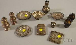 Twelve Small Silver Decorative Items and Accessories