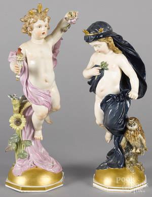 Two Meissen porcelain putti figures 19th c