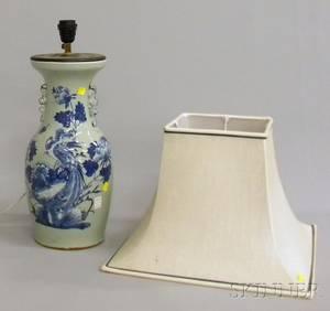Chinese Blue and Whitedecorated Celadon Glazed Porcelain VaseTable Lamp
