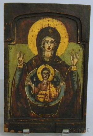 Greek Polychrome Painted Wood Icon Depicting the Madonna and Child