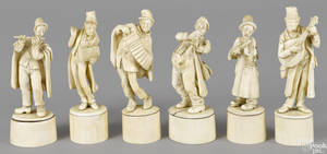 Six German carved bone minstrels late 19th c