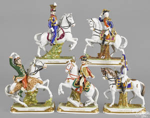 Five German porcelain Napoleonic figures by Scheibe Alsbach
