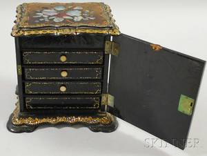 Rococo Revival Gilt and Motherofpearl Inlaid Black Lacquered Sewing Cabinet