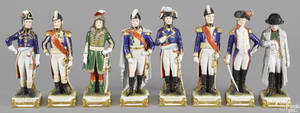 Set of eight German porcelain Napoleonic figures by Scheibe Alsbach