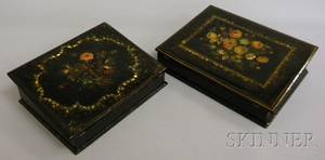 Two Victorian Gilt and Polychrome Floraldecorated Motherofpearl Inlaid Black Lacquered Writing Desk Boxes