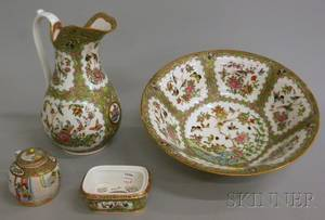 Chinese Export Rose Medallion Porcelain Pitcher Basin Soap Dish and Teapot