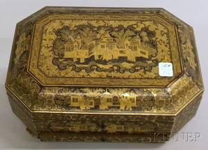 Chinese Export Giltdecorated Black Lacquer Sewing Box with Contents