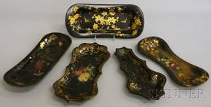 Five Small Victorian Gilt and Polychromedecorated Black Lacquered Papiermache Trays