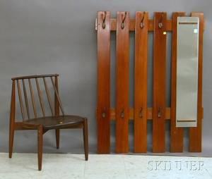 Vertical Wood Slat and Mirrored Coat Wall Rack and a Modern Teak Spindleback Side Chair