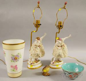 Pair of Porcelain Ballerina Figural Table Lamps a Painted Bisque Bird Figure Bristol Glass Vase and a Chinese Enameldecorated Porce