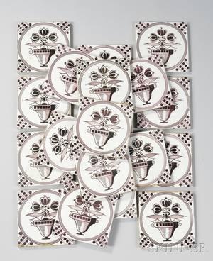Set of Twenty Delft Manganese Vase of Flowersdecorated Pottery Tiles
