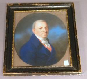 19th Century American School Pastel Portrait of a Gentleman
