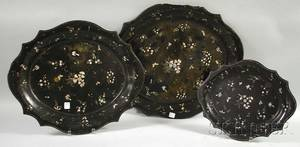 Set of Three Graduated Rococo Revival Motherofpearl Inlaid Papiermache Trays