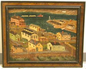 20th Century American School Oil on Panel View of New Jersey Docks
