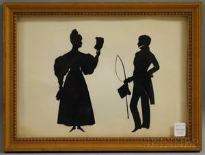 Framed Silhouettes of a Lady and Gentleman