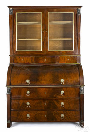 Belgian Empire mahogany cylinder top desk and bookcase early 19th c