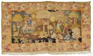 Belgian verdure tapestry panel ca 1900