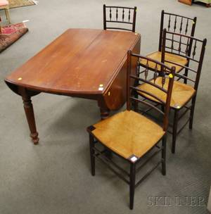 Late Victorian Walnut Dropleaf Dining Table and a Set of Four Ballroom Chairs