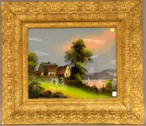 Framed 19th20th Century American School Reversepainting on Glass Depicting a Cottage in a Landscape