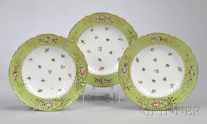 Set of Nine Dresden Gilt Greenbanded and Handpainted Floraldecorated Porcelain Soup Plates