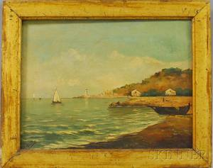 19th20th Century Continental School Oil on Canvas Mediterranean Shore Scene with Lighthouse