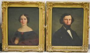 Pair of 19th Century American School Oil on Canvas Portraits of a Young Man and Woman