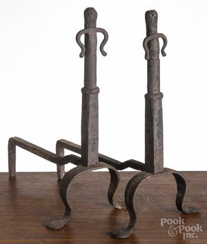 Pair of wrought iron figural andirons