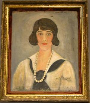 20th Century American School Oil on Canvas Portrait of a Young Woman Wearing Pearls
