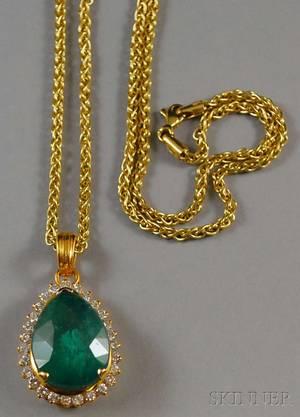 Highkarat Gold Emerald and Diamond Pendant