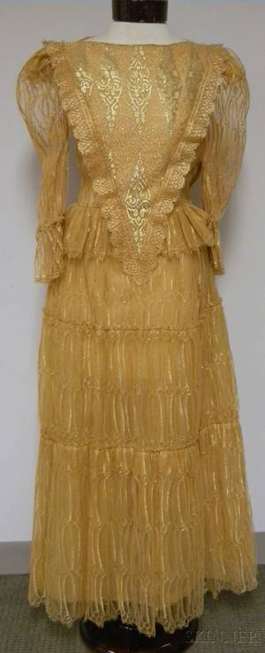 Vintage Mary McFadden Longsleeved Sheer Gold Lace Dress