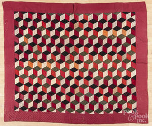 Pieced Baby Block pattern handsewn quilt