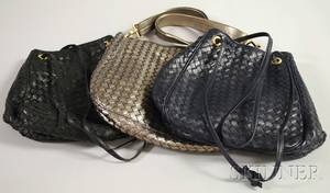 Three Bottega Veneta Woven Leather Purses