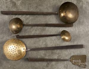 Five Ohio brass and wrought iron kitchen utensils