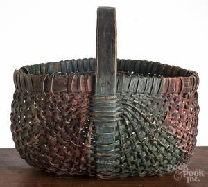 Painted split oak gathering basket